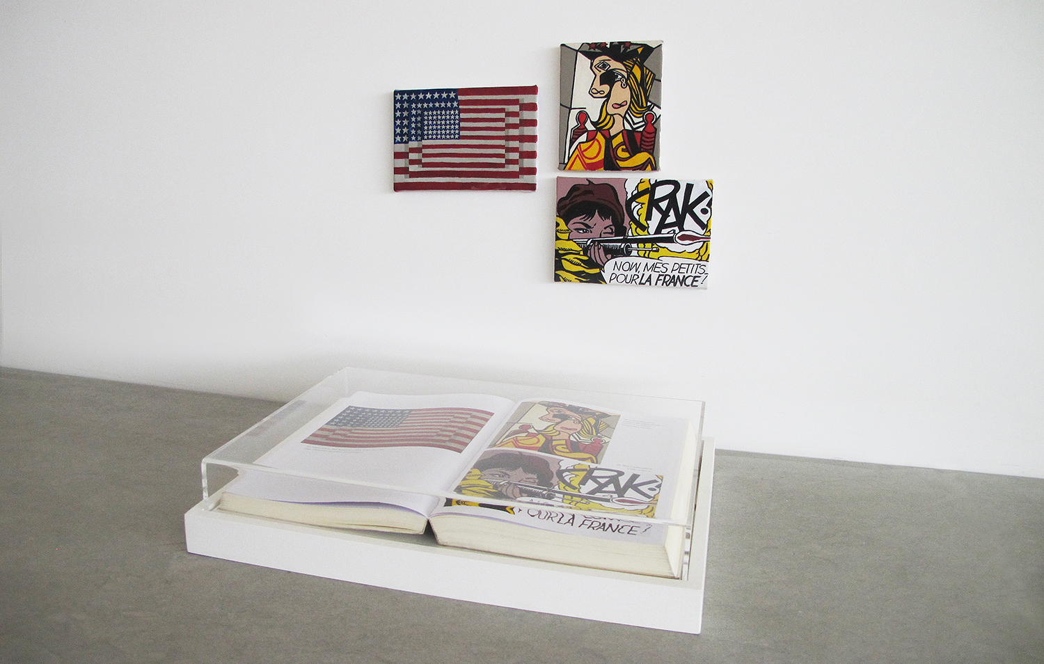 UnnumberedPages(That's How I Was Taught series)•2013 •Framed book, oil on canvas •10.4 x 14.2 (book), 3.75 x 5.5 in, 4.1 x 5.5 in,4.5 x 3.75 in