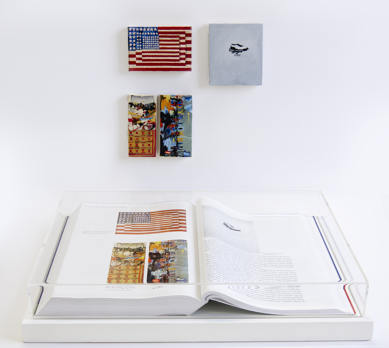Páginas 576 e 577 (série Foi Assim Que Me Ensinaram) •2012• Livro emoldurado, óleo sobre tela •31,5 x 46,5 cm (livro), 7,7 x 11,5 cm, 11,7 x 5 cm, 11,7 x 6 cm, 11 x 9,5 cm