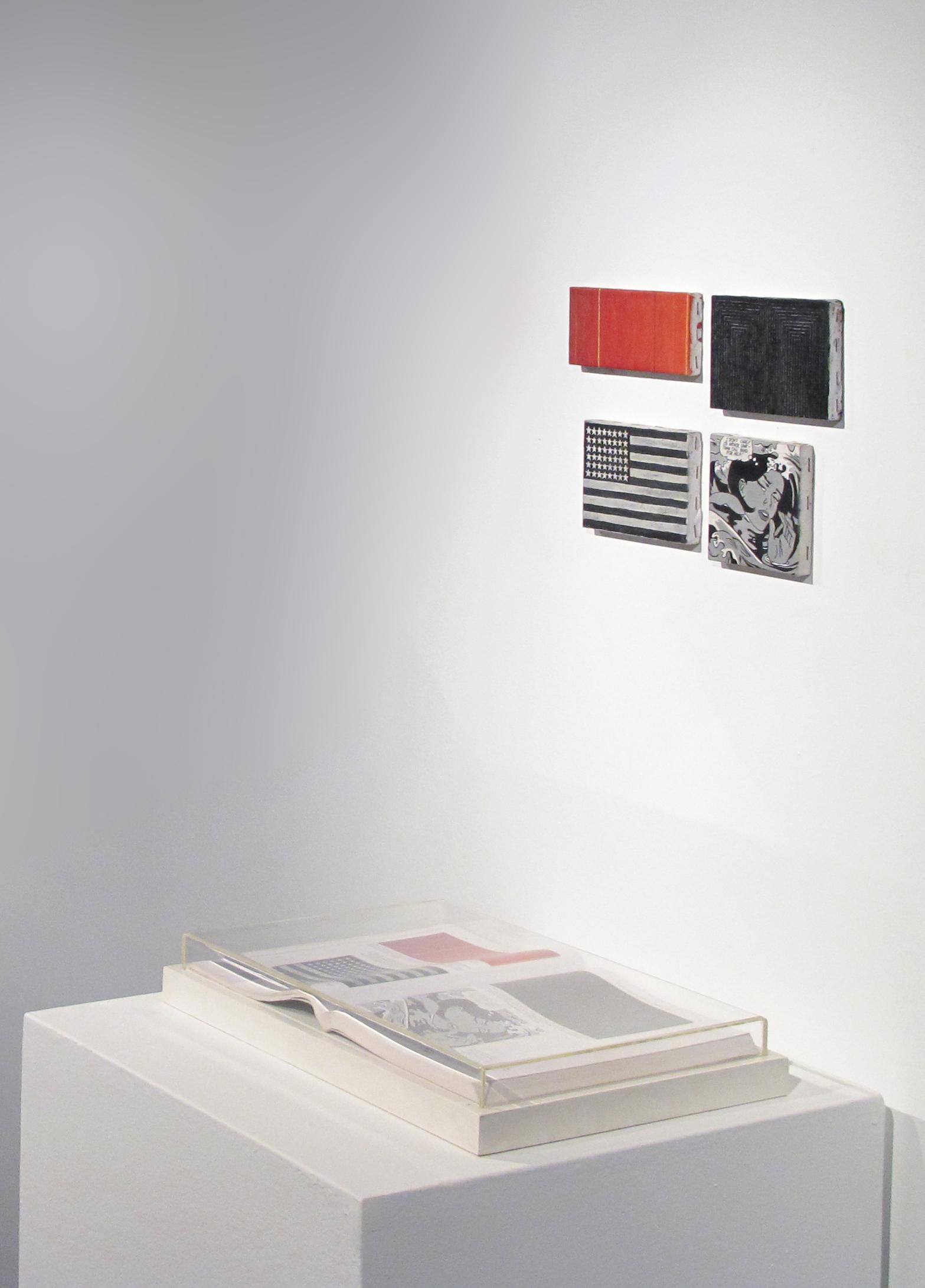 Páginas 78 e 79 (série Foi Assim Que Me Ensinaram) •2005 • Livro emoldurado, óleo sobre tela •26,5 x 40 cm (livro), 5,5 x 12 cm, 10 x 14 cm, 9,5 x 14 cm, 10,5 x 10,5 cm