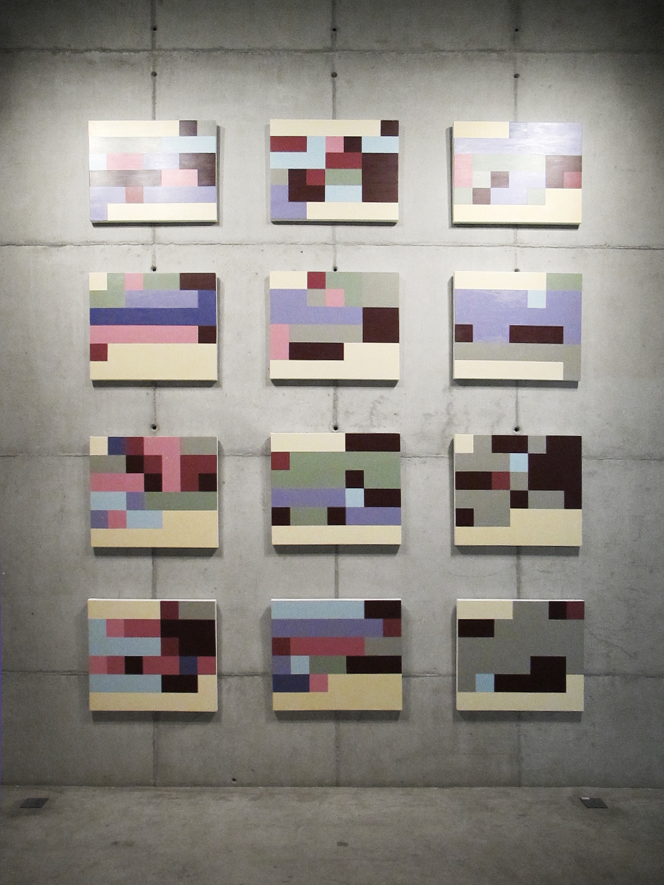 Mood States   (  Statistical  Self-portraits series  )  •2012 •12 acrylics on canvas + artist book • 23.62 x 27.56 in (each)