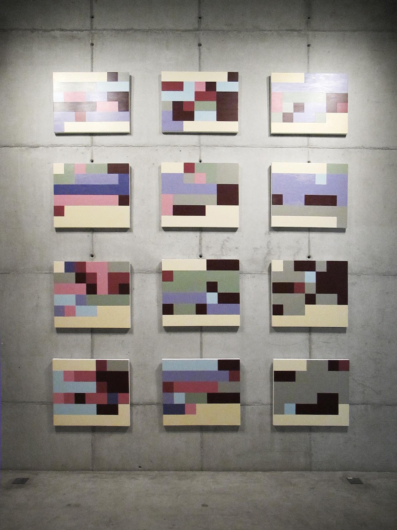 Estados de Humor (série Autorretratos Estatísticos) •2012 •12 acrílicas sobre tela + livro de artista •0,60 x 0,70 m (cada)