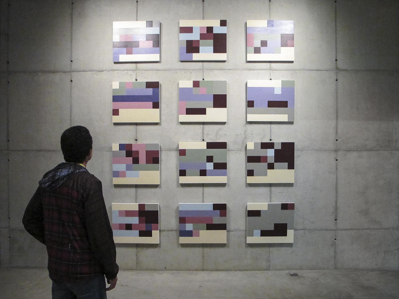 Estados de Humor (série Autorretratos Estatísticos) •  2012 •  12 acrílicas sobre tela + livro de artista •  0,60 x 0,70 m (cada)