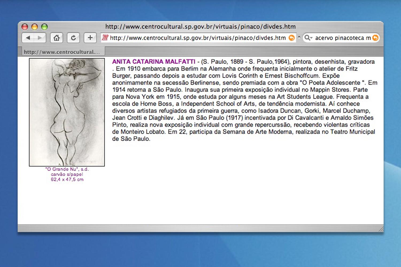 Página do site do acervoda Pinacoteca Municipal,da qual foi apropriada  a imagem de um dos desenhosrepresentados porseu código binário na obra Acervo.