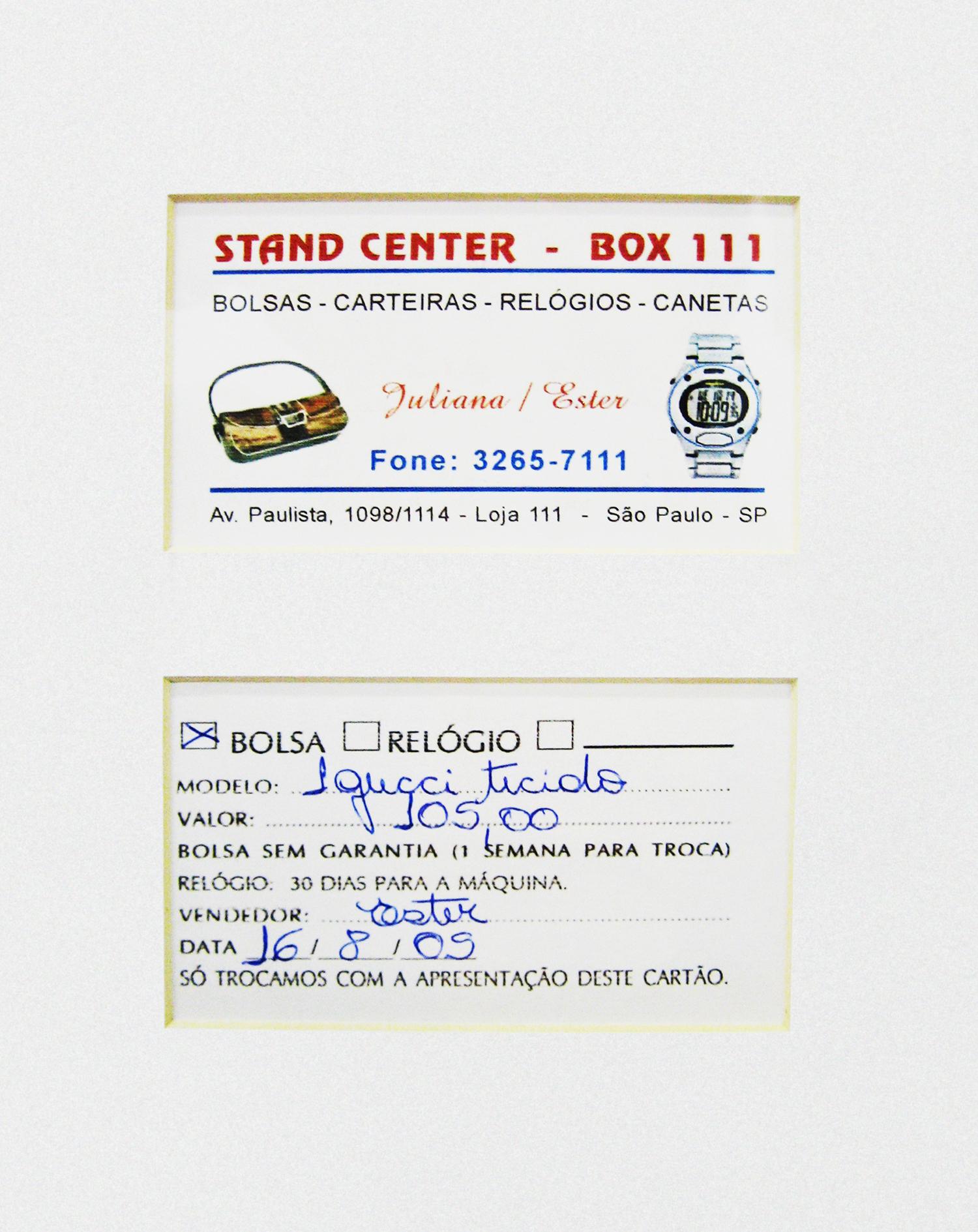 Gucci: R$ 105,00 (série O Que Te Seduz) (detalhe) •  2003/2004 •  Fotografia, impressão digital, recibo de compra •  120 x 80 cm, 30 x 30 cm (díptico)