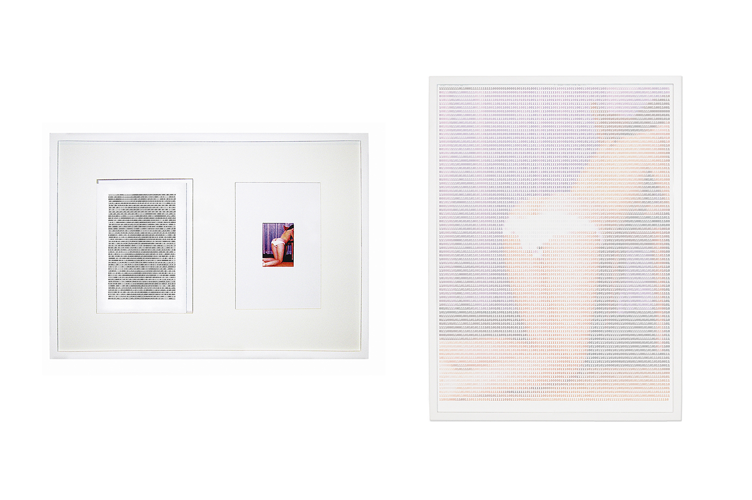 One and Three Photos (After Kosuth) • 2003 • Photograph, digital print, 4 A3 photo paper sheets, 124 A4 sheets with printed binary code • 19.7 x 28.7 in, 31.9 x 22.8 in