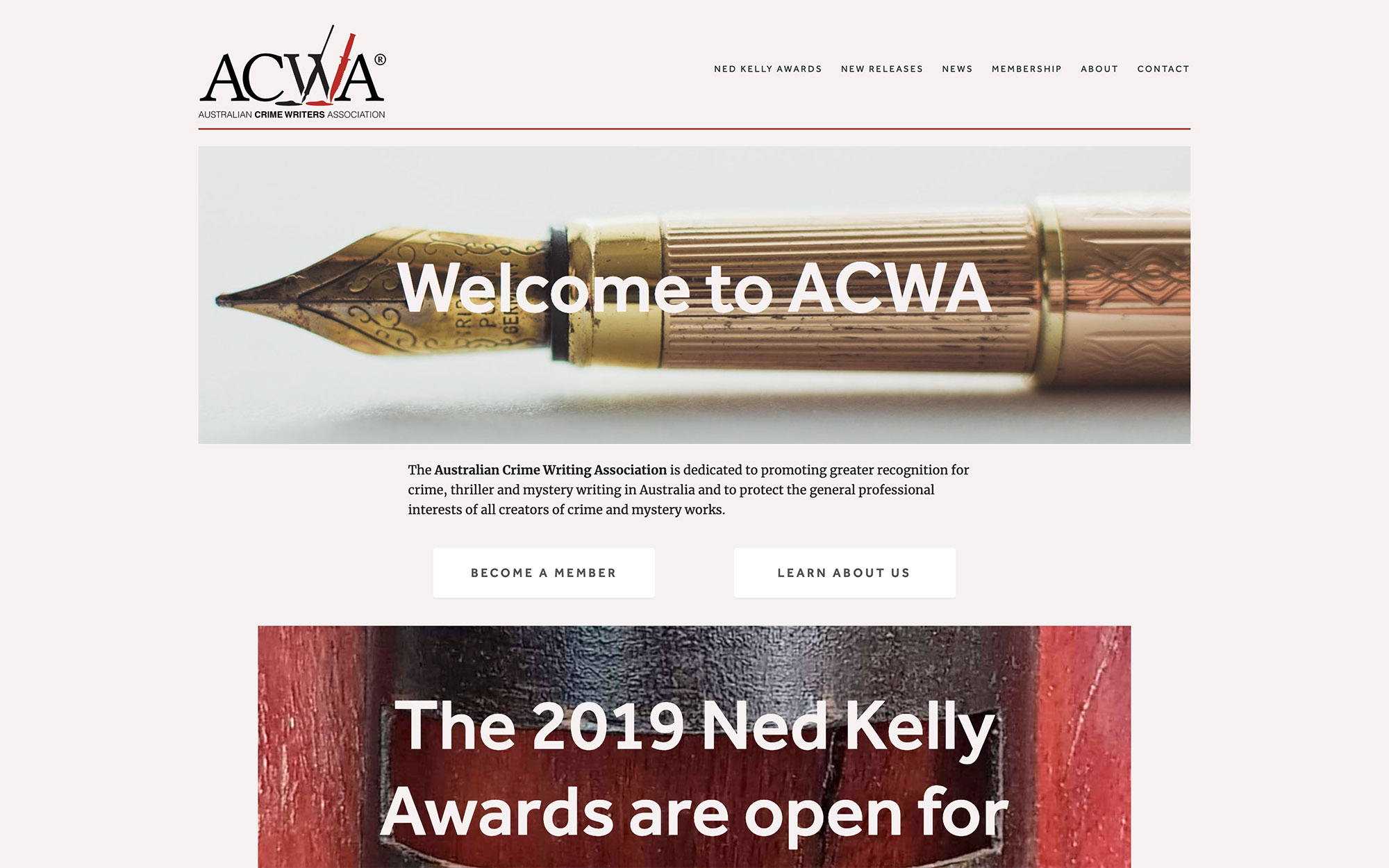 Australian Crime Writers Association - Australia's key organisation for crime writers and writing, and the administrators of the Ned Kelly Awards.Site designed & launched February 2019.