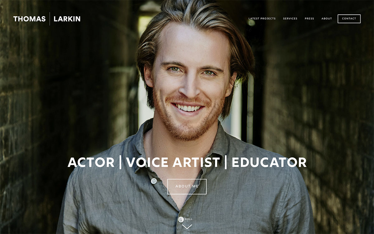 Thomas Larkin - One of Brisbane's most well-regarded actors and performance professionals.Site designed & launched March 2019.