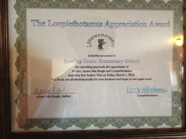 Loopiethotamus Appreciation Award given to BGE on 030113 at Author Visit.jpg