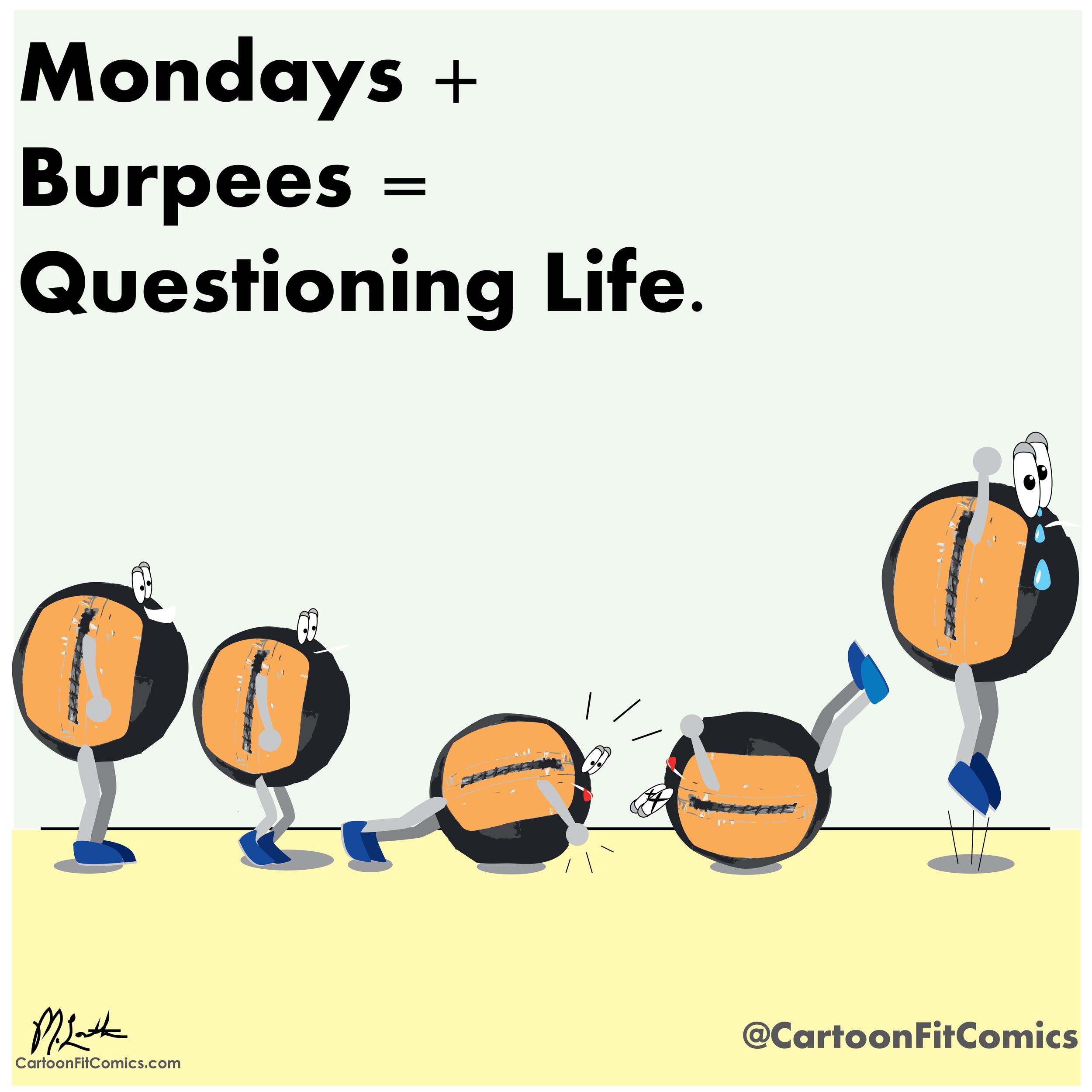 Balloo - Cartoon Fit Comics - Burpees - I Hate Burpees