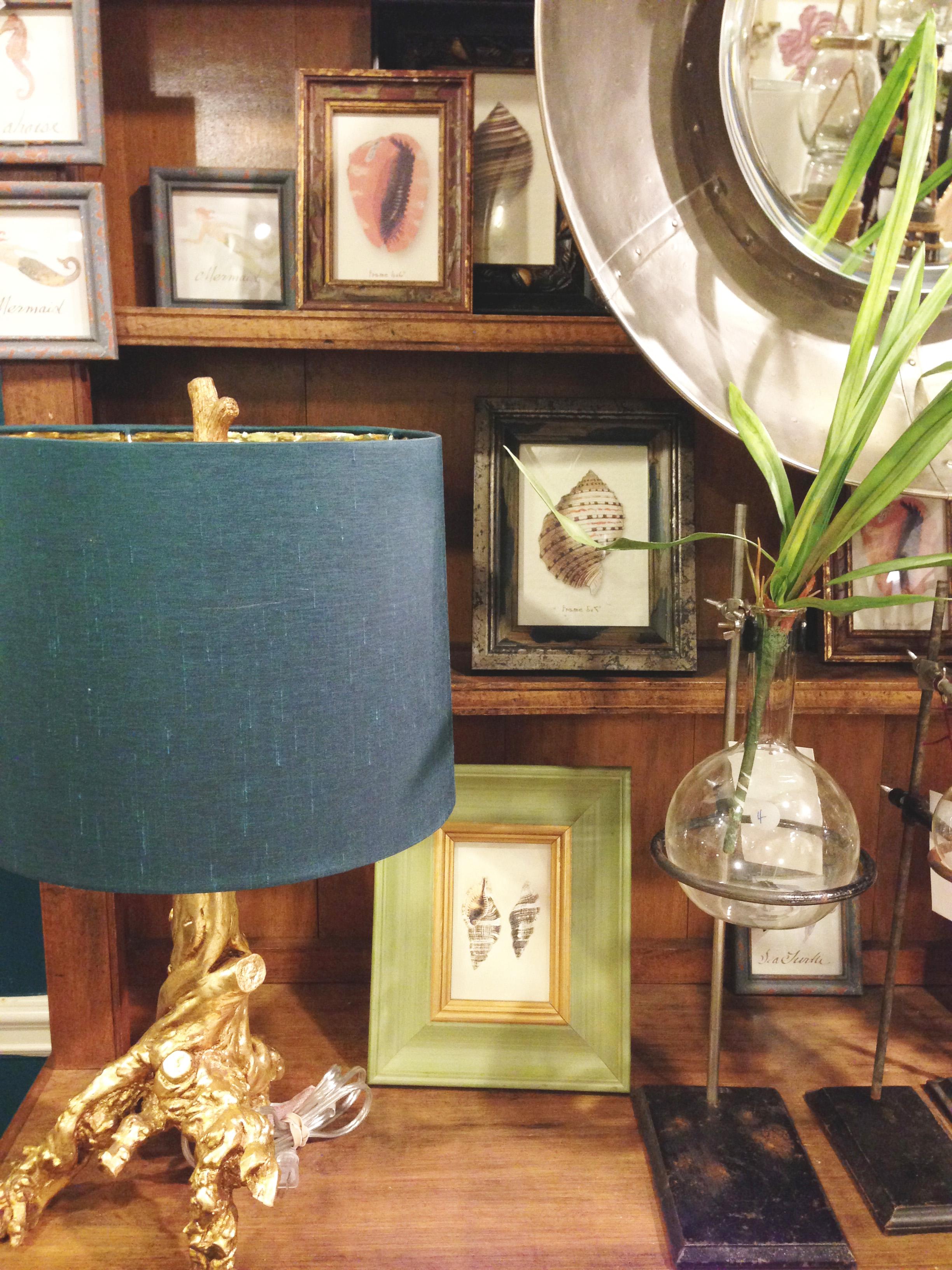 Similar Branch Lamp  ,  Dip-Dyed Blue Lamp Shade , Beaker Flower Vase