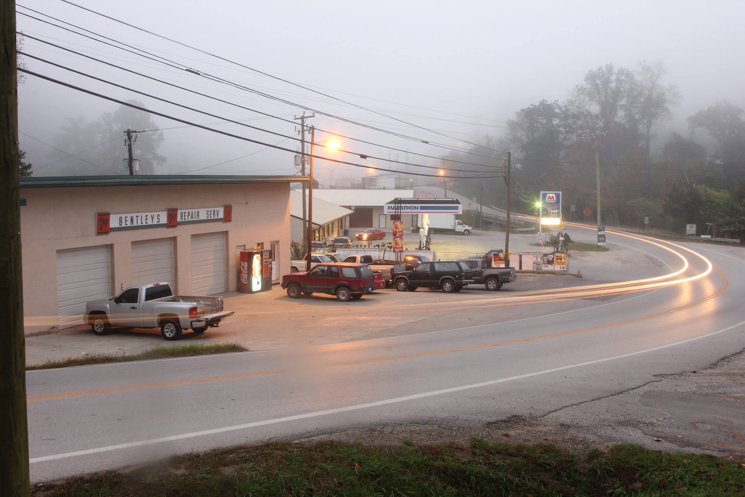 Early morning outside Bentley's Auto Service in Wooton, Ky.