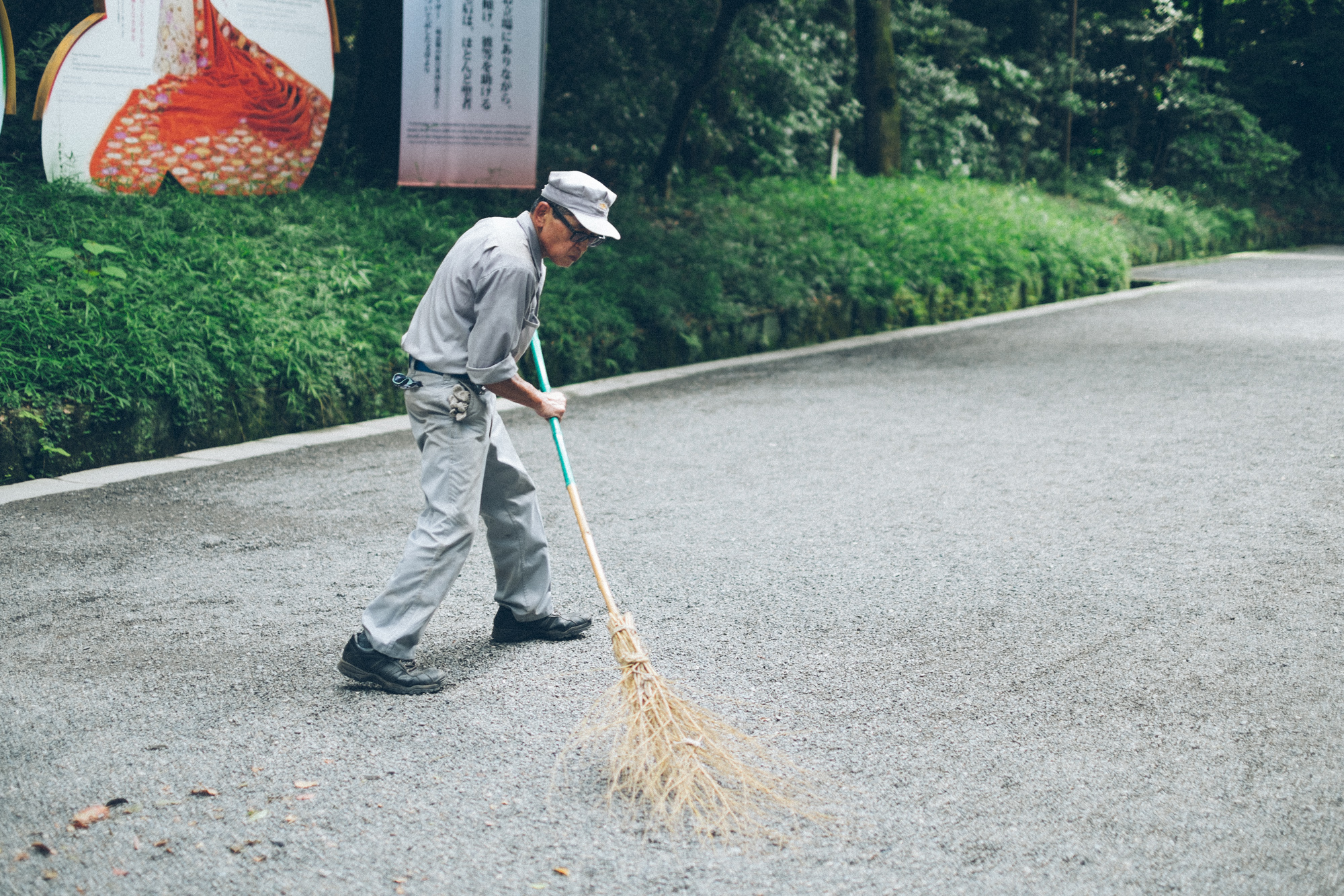 I liked the broom this guy used to sweep the pathway to the Meiji Shrine.