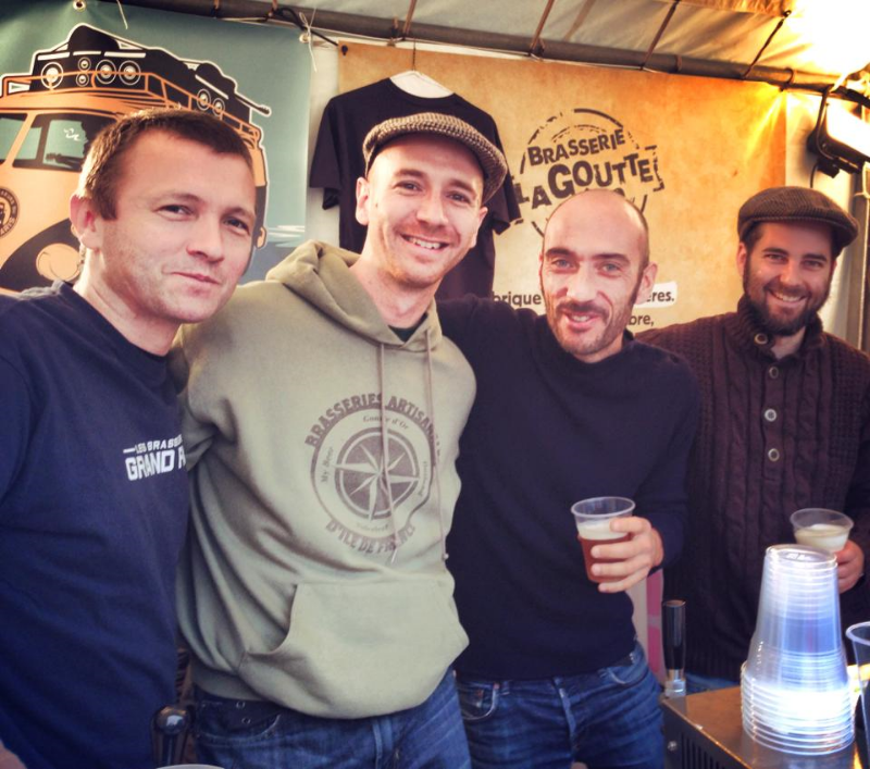 AAnthony with brewing partner Fabrice (left) and local brewers Thierry (right) and Fred (far right)  photo courtesy of Dorothée Van Agt