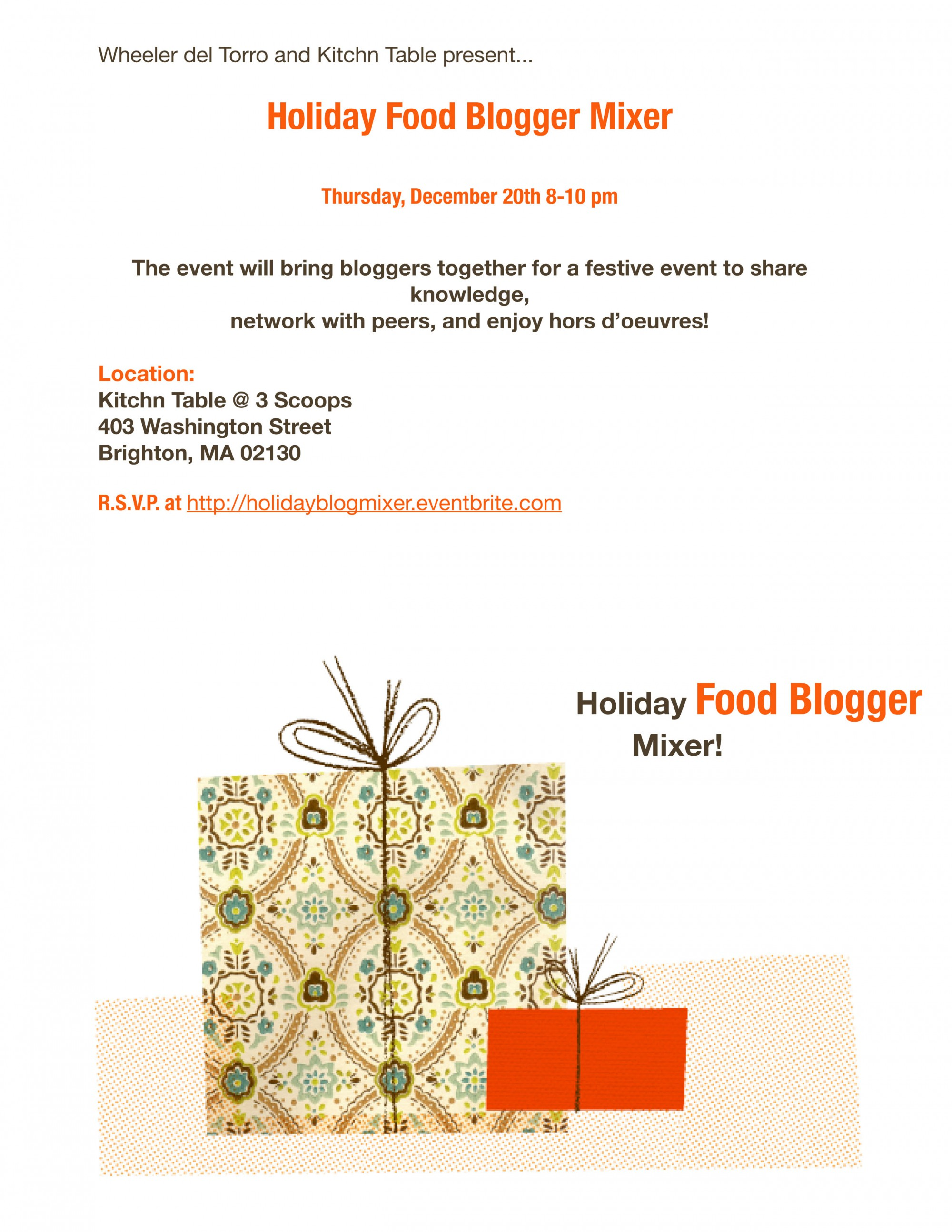 Kitchn Table Holiday Food Blogger Mixer Invite