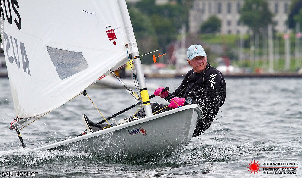 """After winning the Laser Masters Worlds, Mark B told the adoring world media """"Now I've won the chocolates at the LMW's, and I've broken in my new gloves, I've never been more prepared for the premier event on the Global Sailing Calendar, the DBSC Season"""". Photo: Sailingshot"""