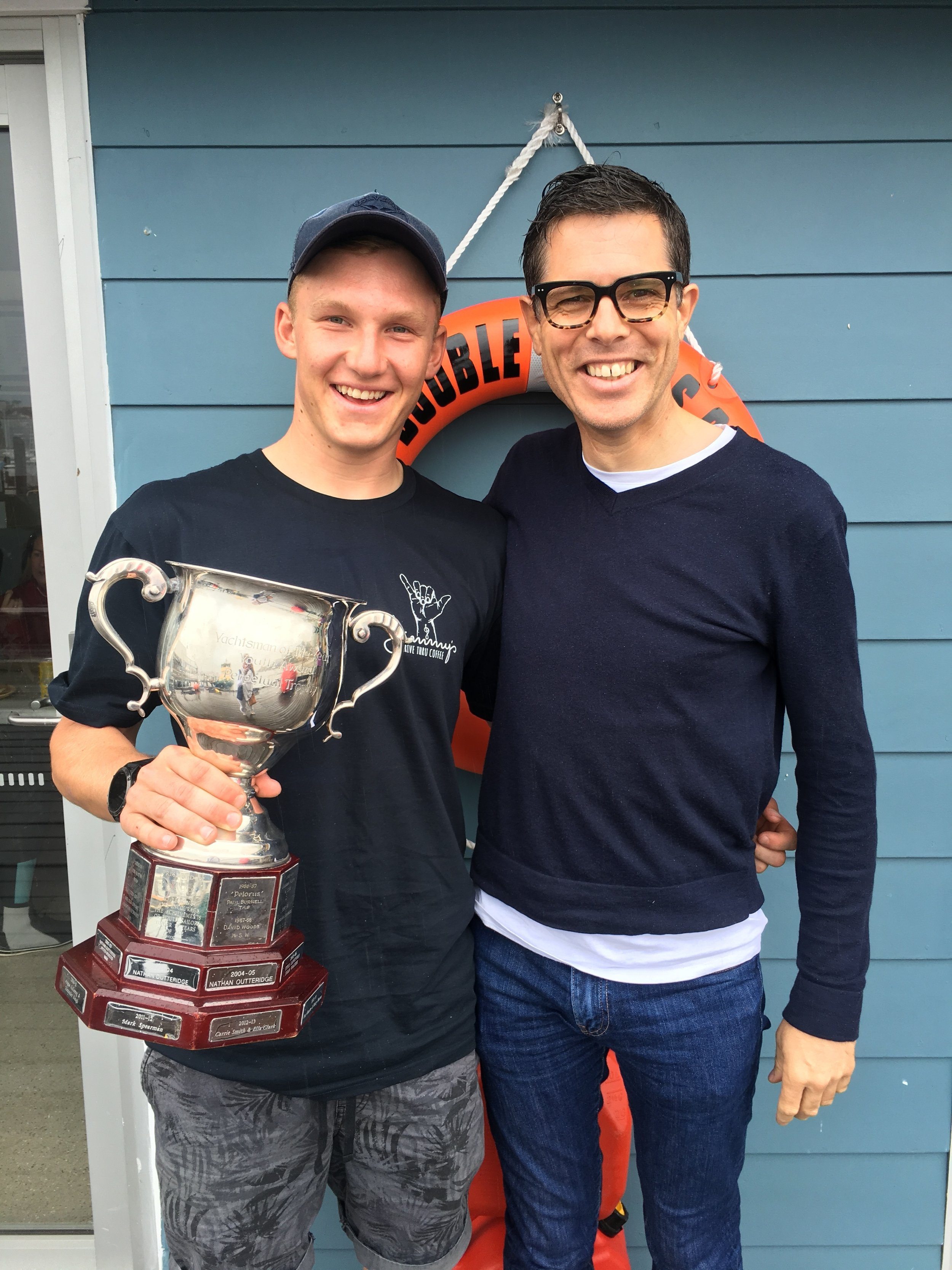 Finn and Andrew with Finn's Youth Sailor of the Year Trophy