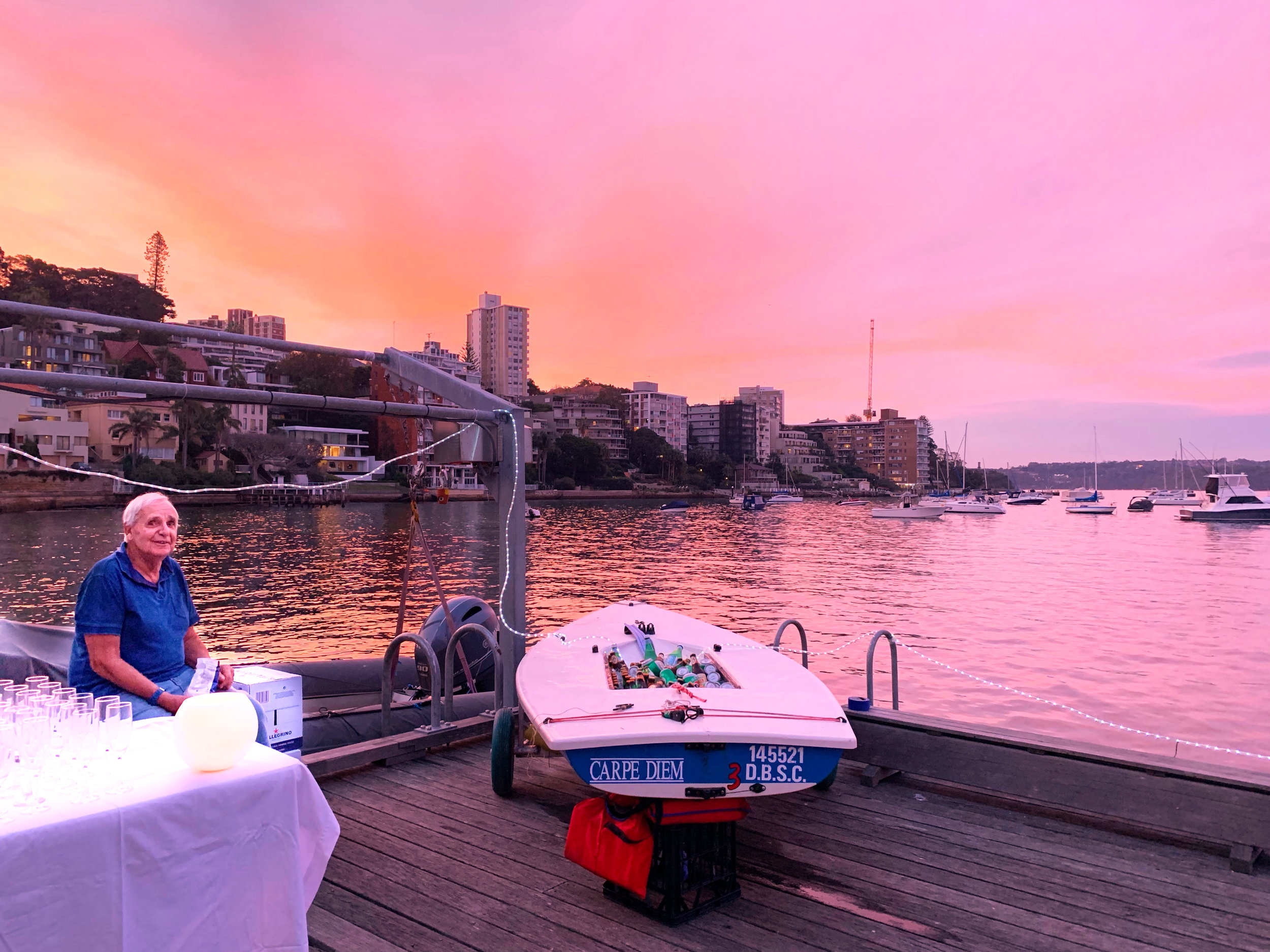 A beautiful evening (and a Laser filled with beer and champaign) greeted guests. Photo by Peter Collie.