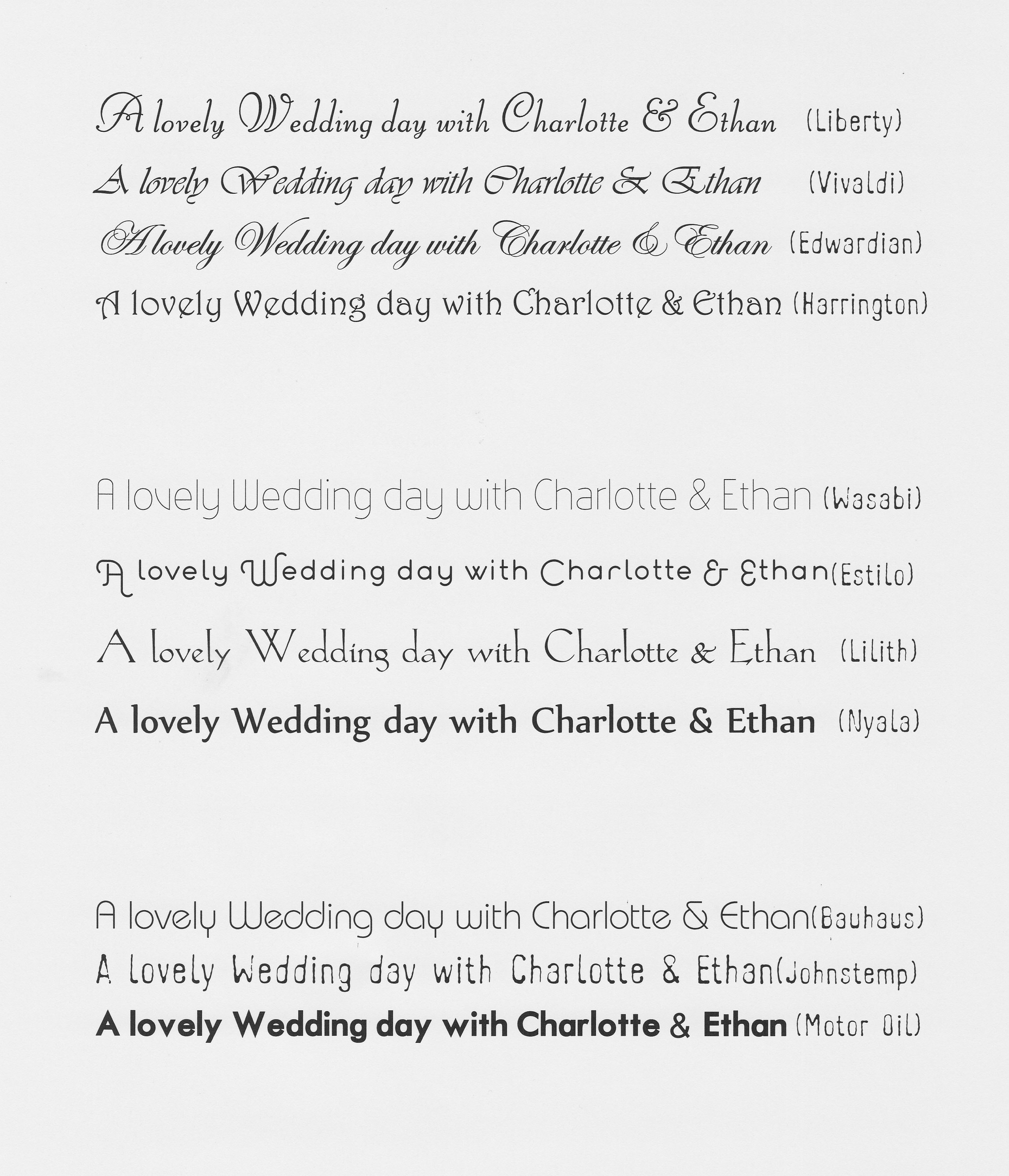 Tulip Cards.com - Wedding Stationery Fonts
