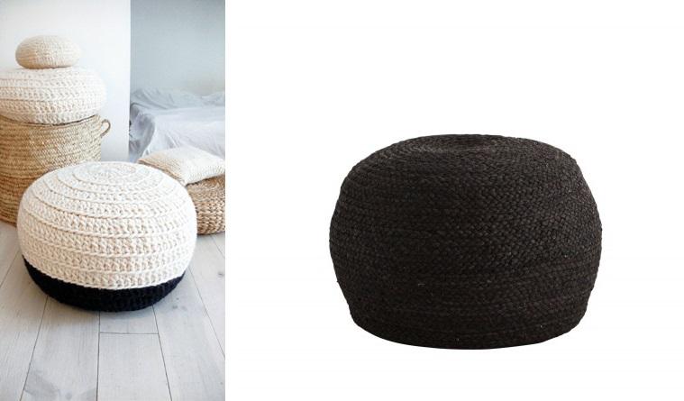 Biało-czarna pufa:  etsy.com , czarne siedzisko:  millihome.pl