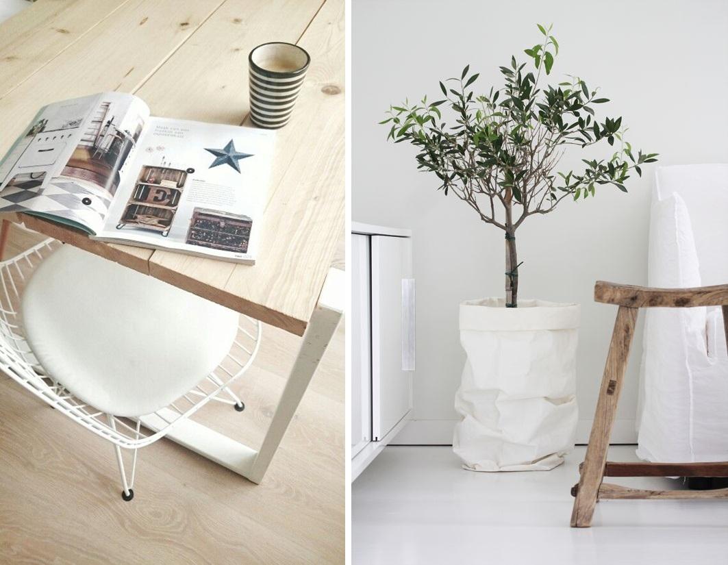 fot. pinterest.com /Kubek w paski:  houseshop.pl , papierowe torby: miahome.pl /  Drewniane stoły/stołki