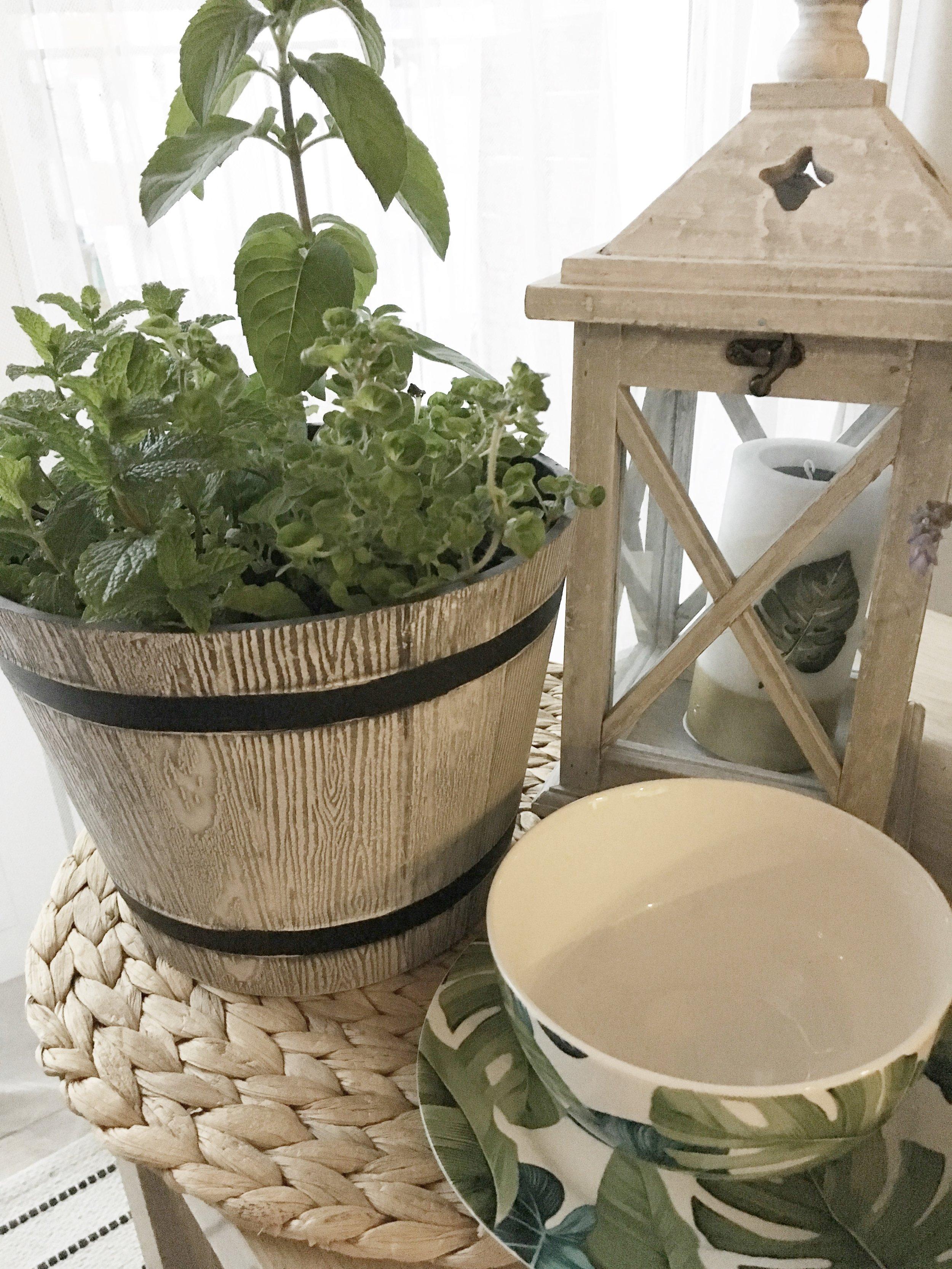 Donica stylizowana na beczkę, zioła, świeca z motywem liścia:  bricomarche.pl