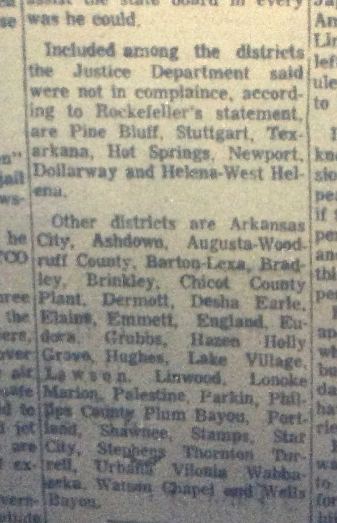 Nearly all districts that failed to comply with the desegregation order were in the Delta.