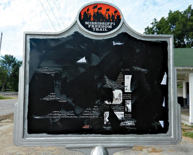 Emmett Till marker vandalized in Money, Mississippi. Not the first time.