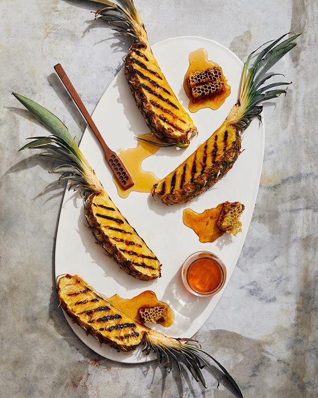 Grilled pineapple + honey 🐝 new work with @chantallambeth