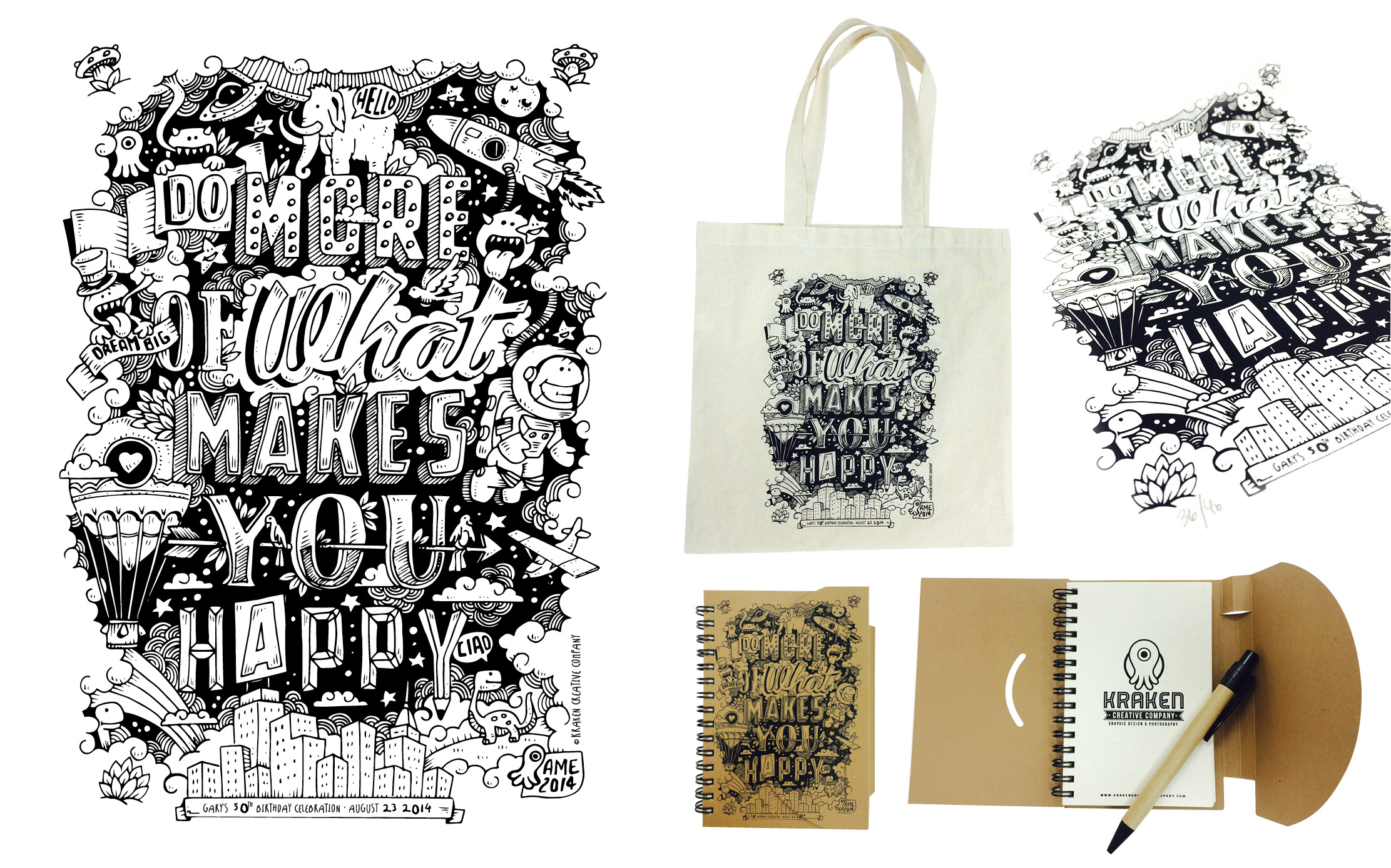 Clockwise from left: Original Illustration, ink on paper. Canvas Tote: Silkscreen by Technicolor Printing, La Habra, CA.  Sign and numbered  limited edition Silkscreen Print printed by  Technicolor Printing, La Habra, CA. Notebook digital print by Quality Instant Printing, San Dimas, CA.