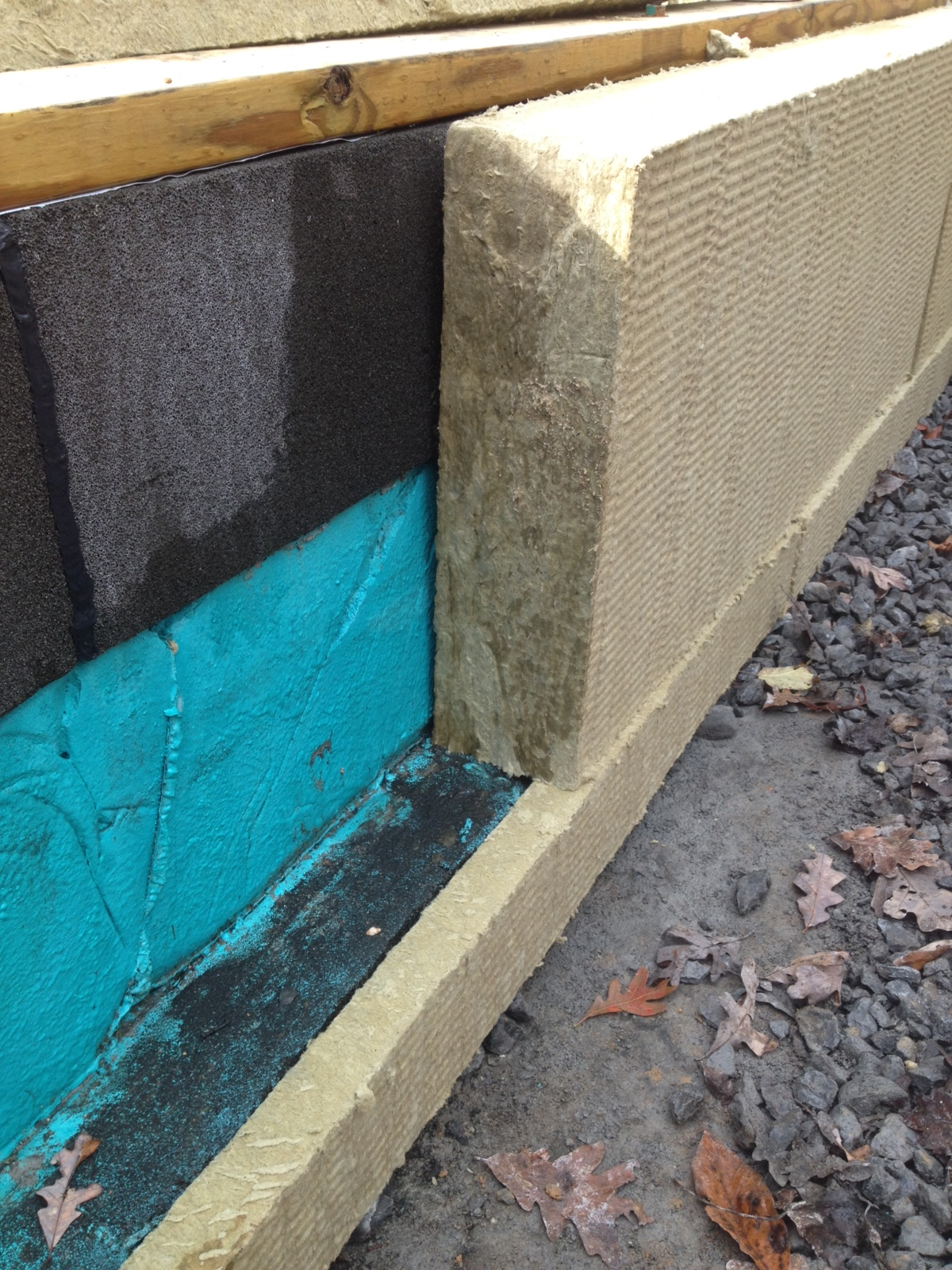 FOAMGLAS under footing insulation, with Mineral Wool Insulation on exterior side