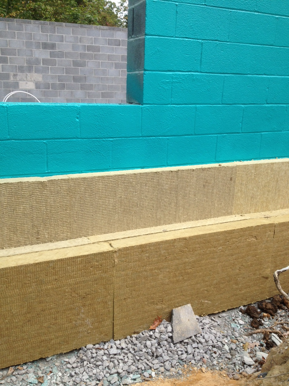 Exterior Insulation - Mineral Wool; Rub-R-Wall waterproofing on concrete block