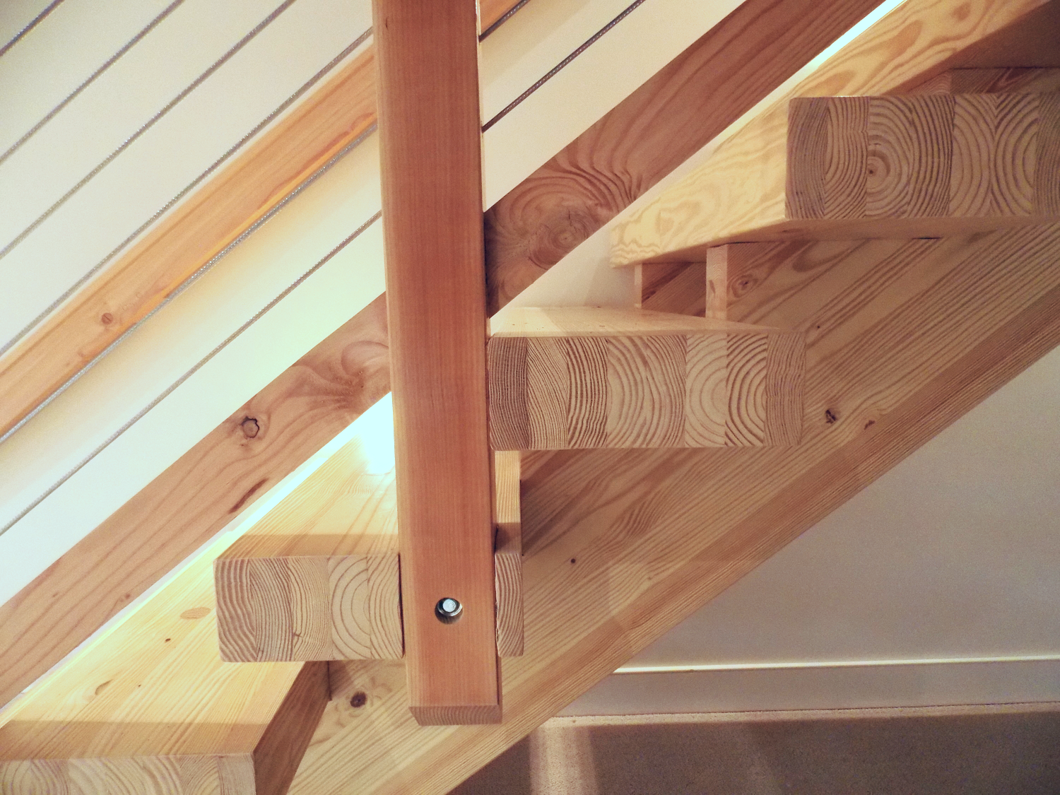 Glulam yellow pine timber stairs
