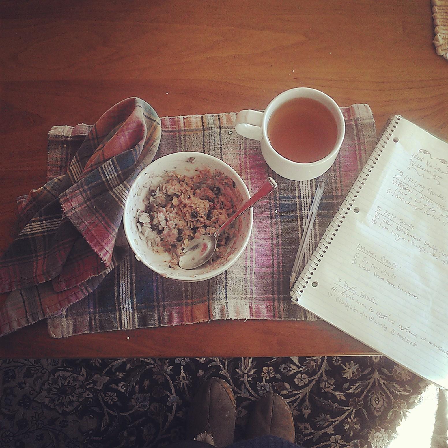 Muesli, tea and my notebook