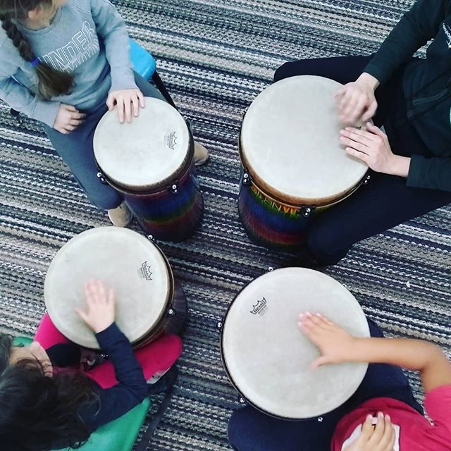 Beginning percussion ensemble works on sight reading and playing rhythms together. #elsistemainspired #musicworks #percussion #workingtogether