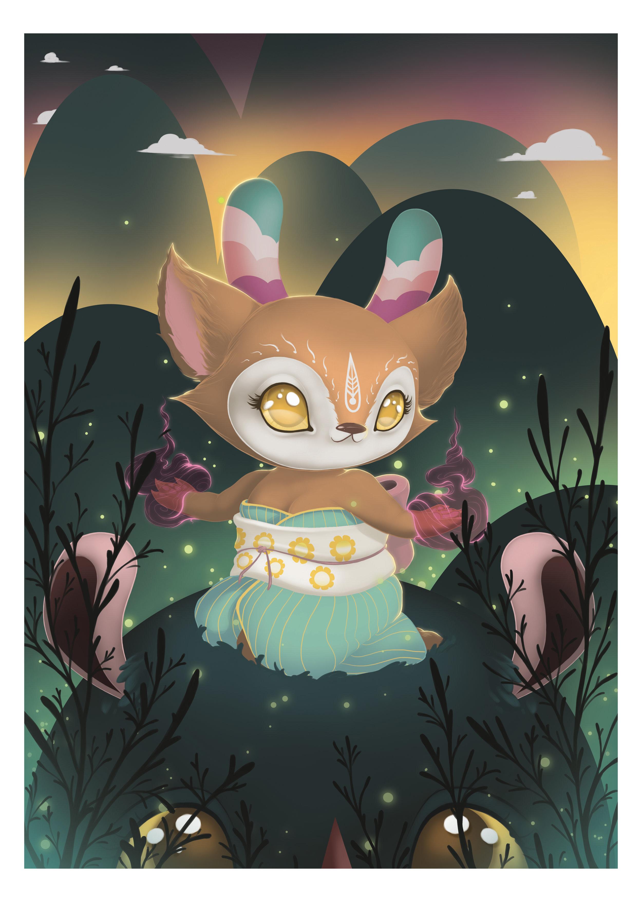 inari-okami-spiritusdea-kidrobot-dunny-tomodachi-island-limited-print
