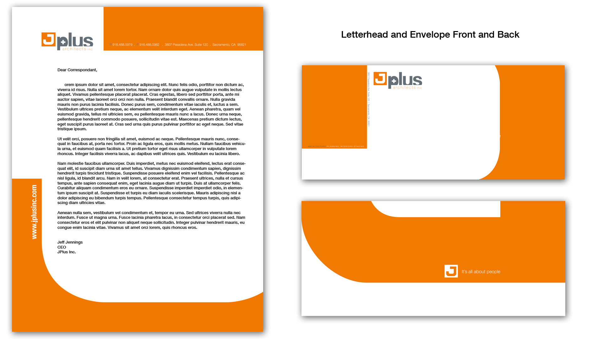 The Final letterhead that was chosen was both consistent with the business card and it was nice how the di-cut envelop was a J that wrapped around the envelop.  When you opened the envelop, you could see the J as it unfolded.