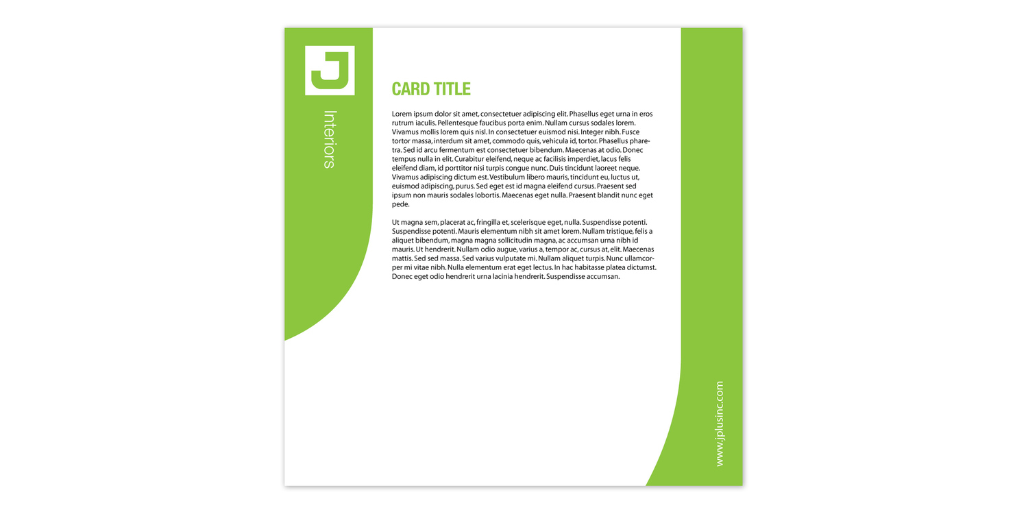 The system is modular so they can print out specific cards with different media and information suited for the client the brochure is assembled for. In this case, it is an interior design client.  The Green Color appears in the slot where the cards are located.