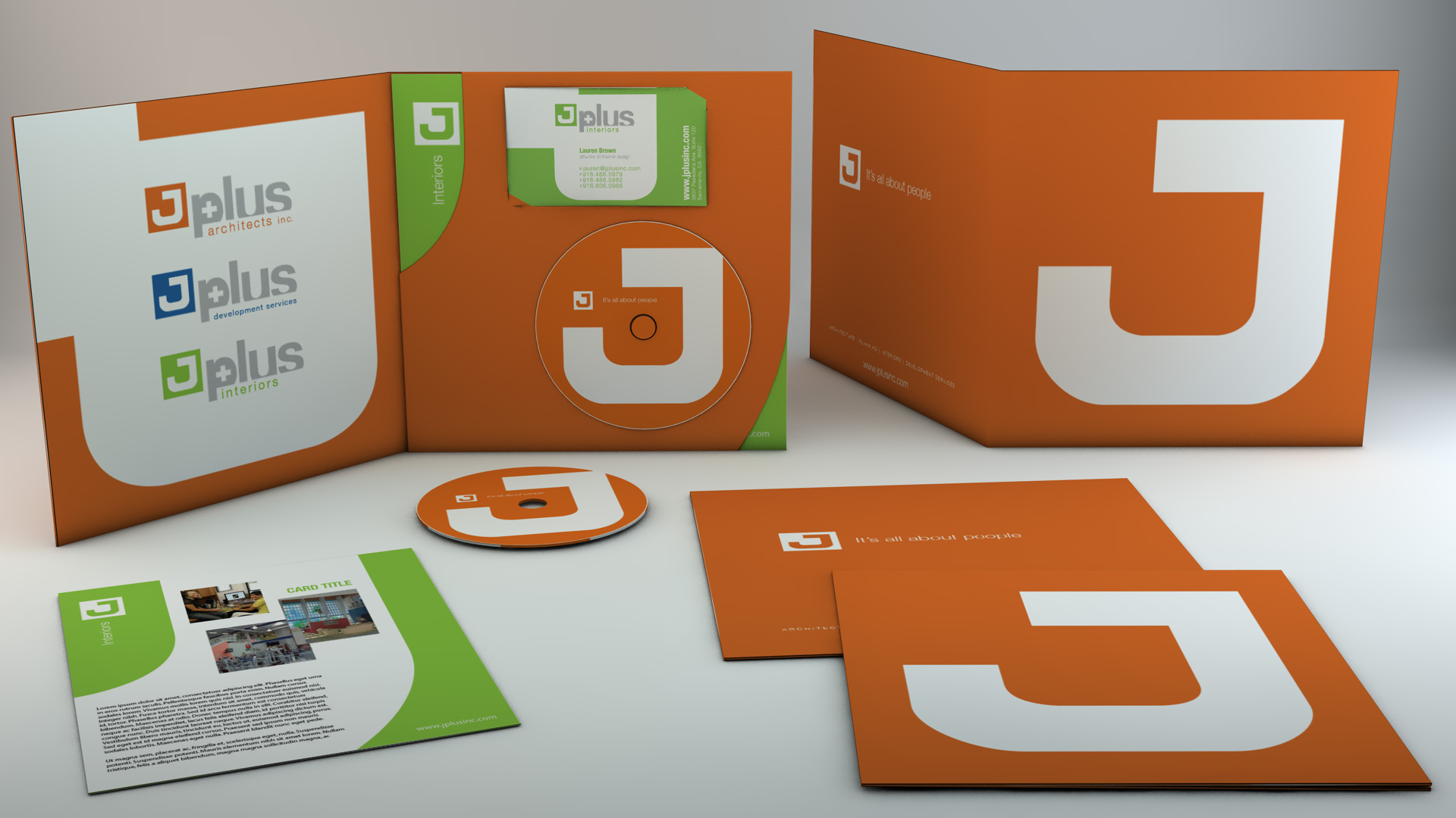 Here you can see how the brochure looks, both folded and unfolded with media included inside.