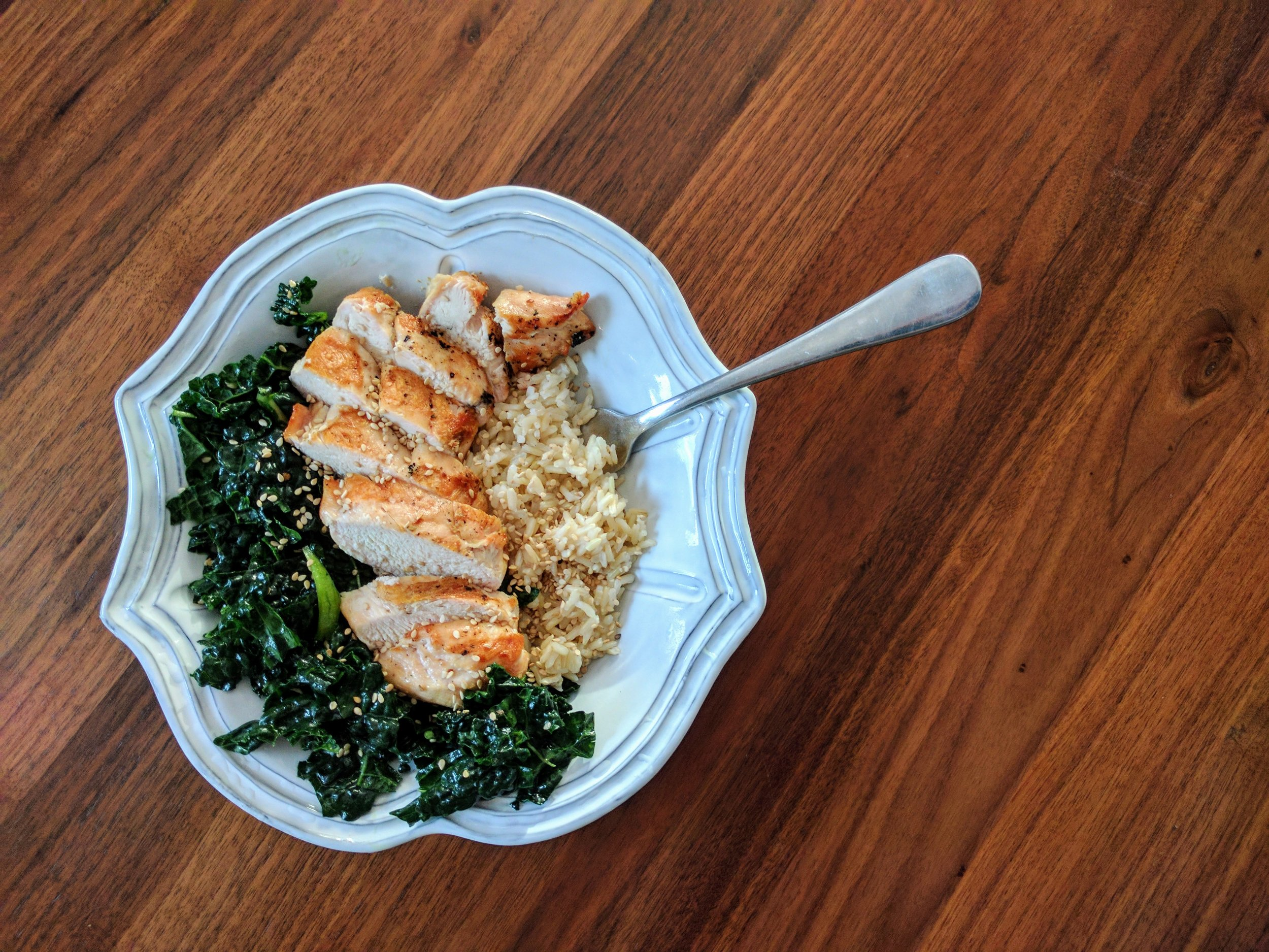 Lemony Kale Salad with Chicken and Rice