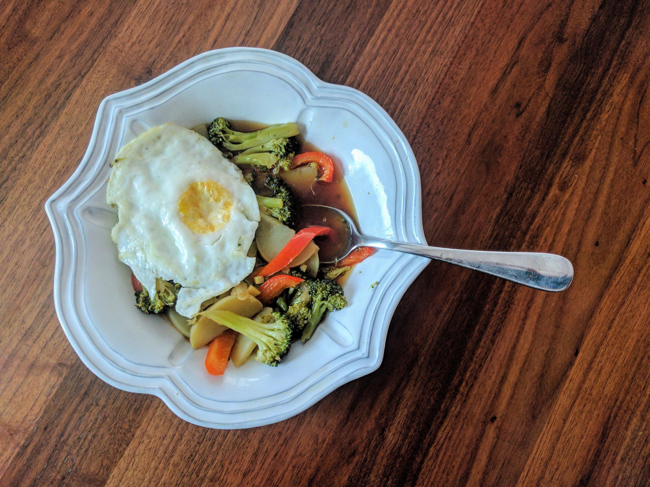 Egg & Veggie Broth Bowl