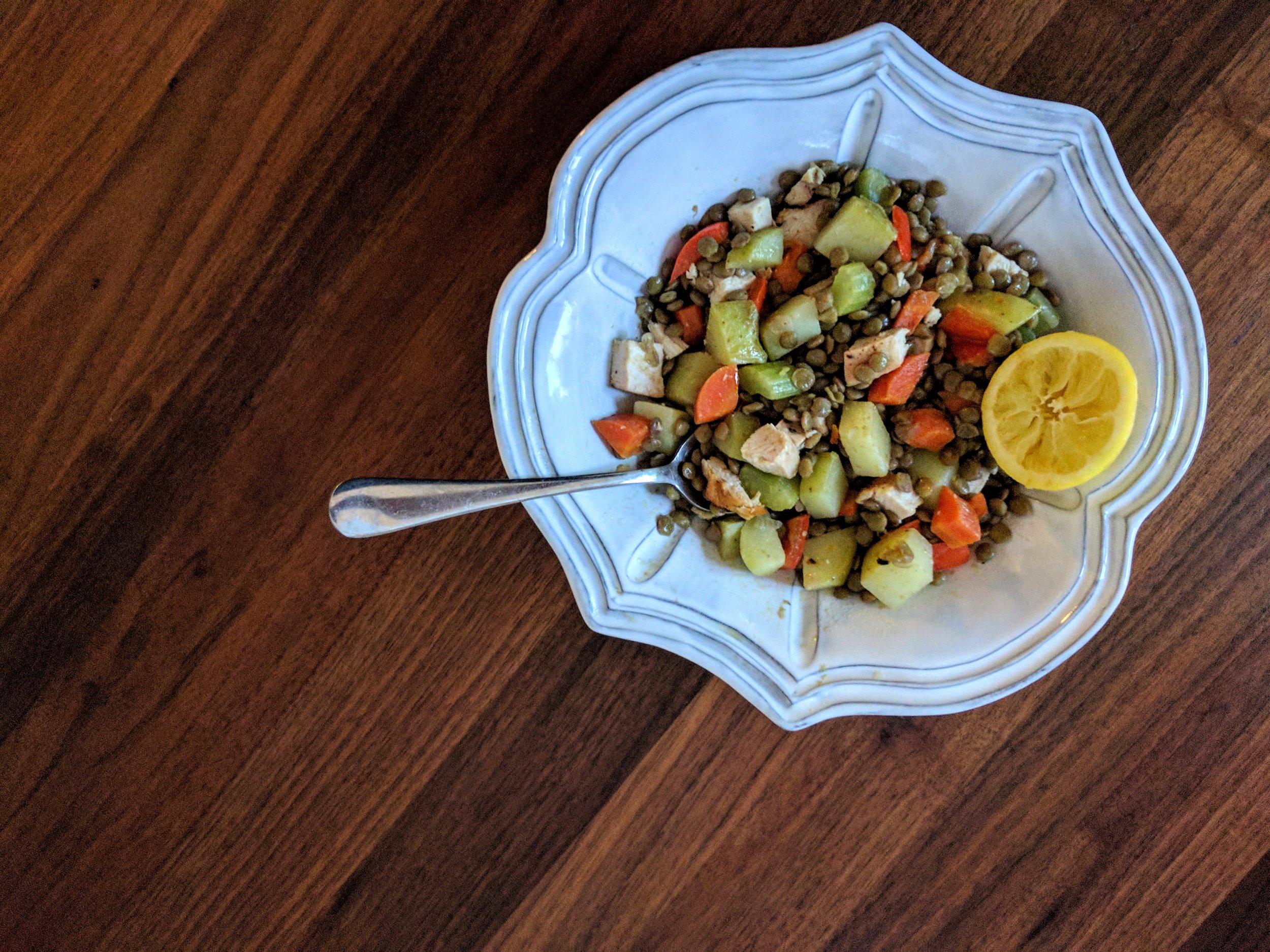 Lentils with Veggies & Chicken