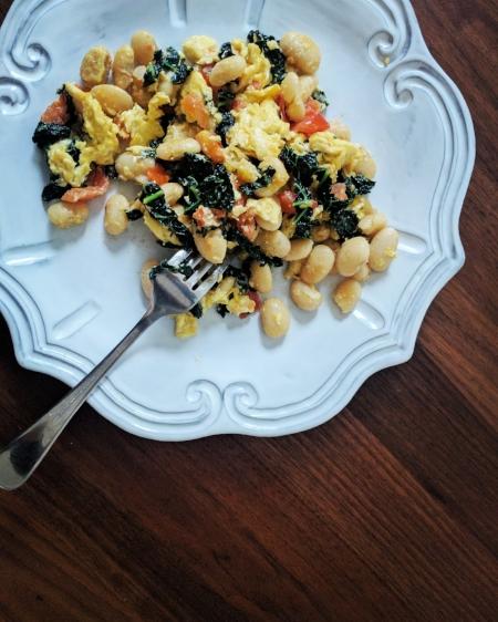 Tomato + Greens + Beans + Scrambled Eggs