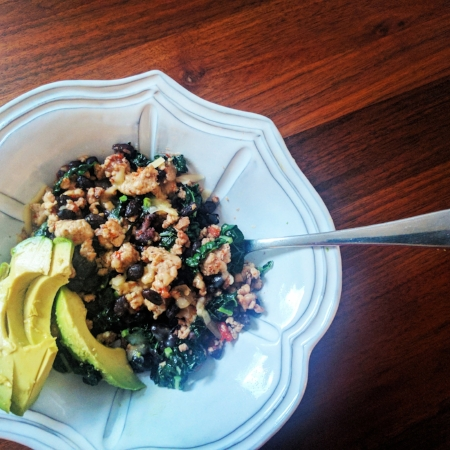 Ground Turkey (sautéed with onions,red bell pepper, and a touch of cumin) + Black Beans + Greens + Melted Cheese and Avocado