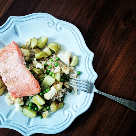 Roasted Veggies + Extra Peas + Salmon + Rice + Lemon-Garlic Vinaigrette (1/4 cup olive oil, juice from 1/2 lemon plus more to taste, and 1 clove crushed garlic - dressing serves 4)