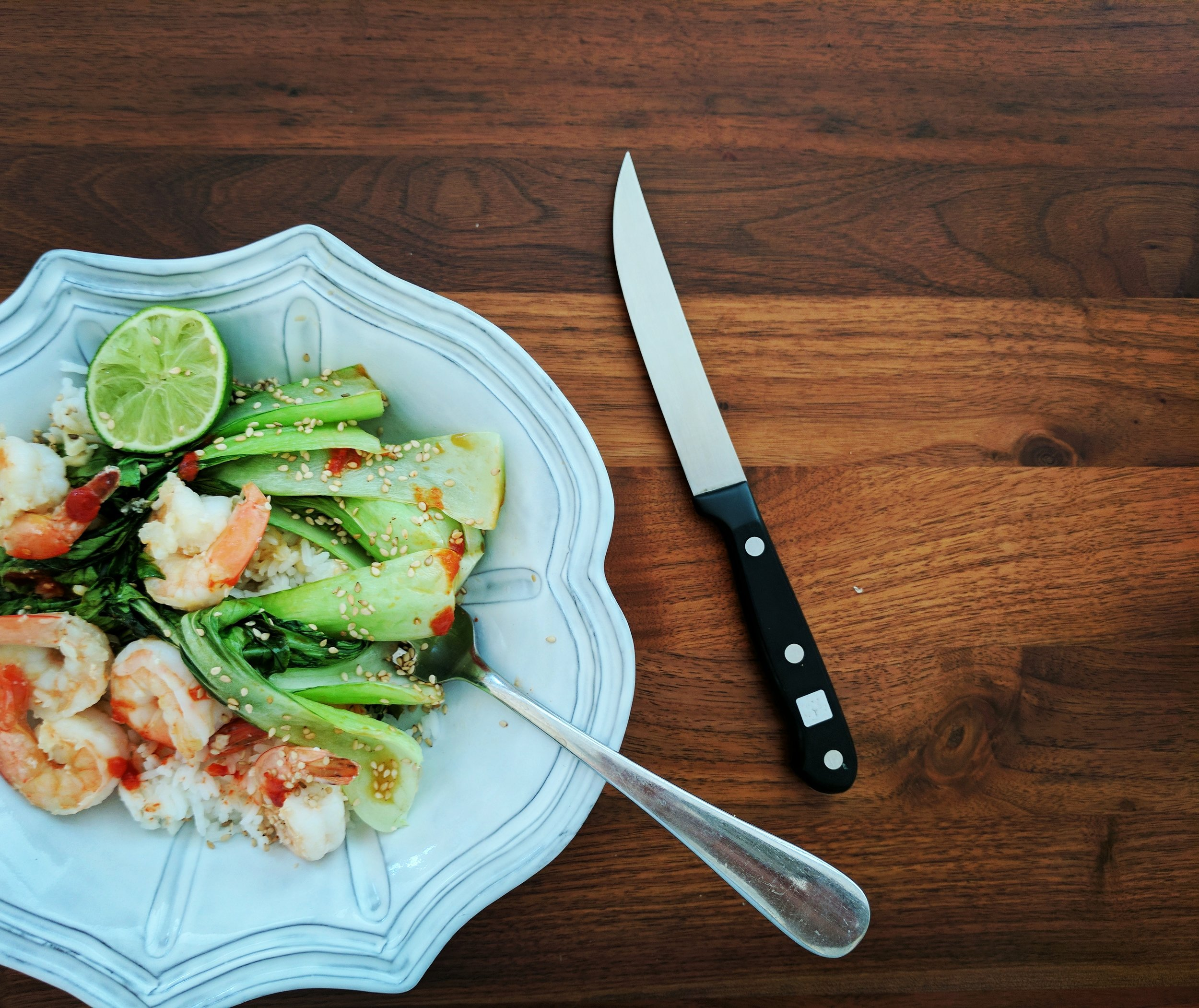 Shrimp and Bok Choy with Brown Rice