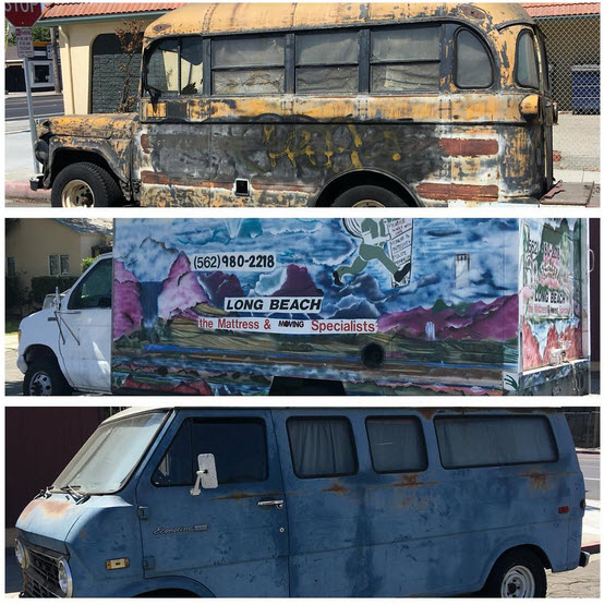 """A collection of """"art cars"""" at this years Burning Fax"""