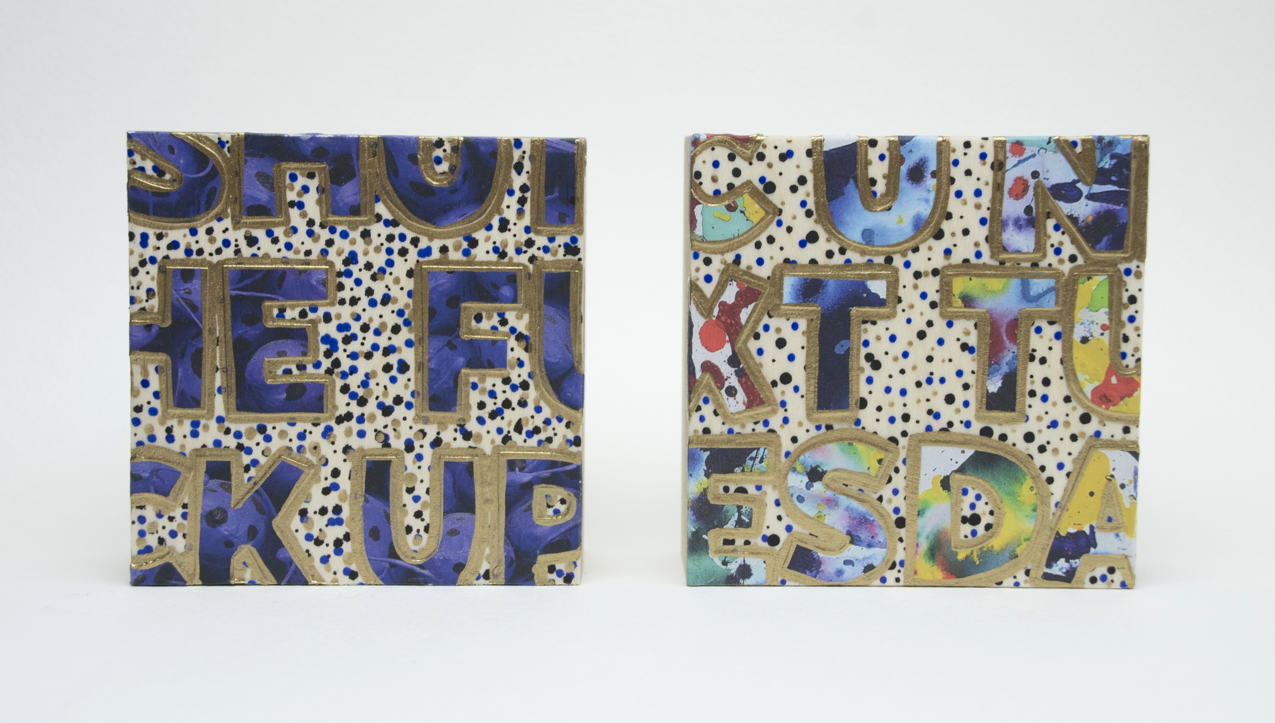 Shut The Fuck Up / C U Next Tuesday , 2016 Acrylic, enamel, felt tip marker and catalog pages on wood 4 x 4 x 1 5/8 inches, each