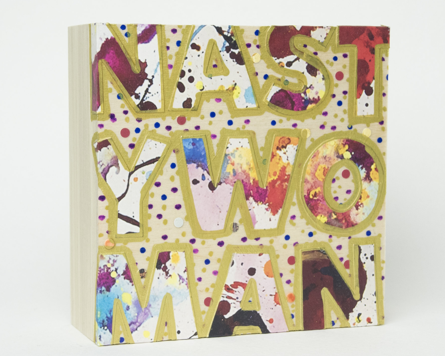 Nasty Woman , 2016 Acrylic, enamel, felt marker and catalog pages on wood 4 x 4 x 1 5/8 inches