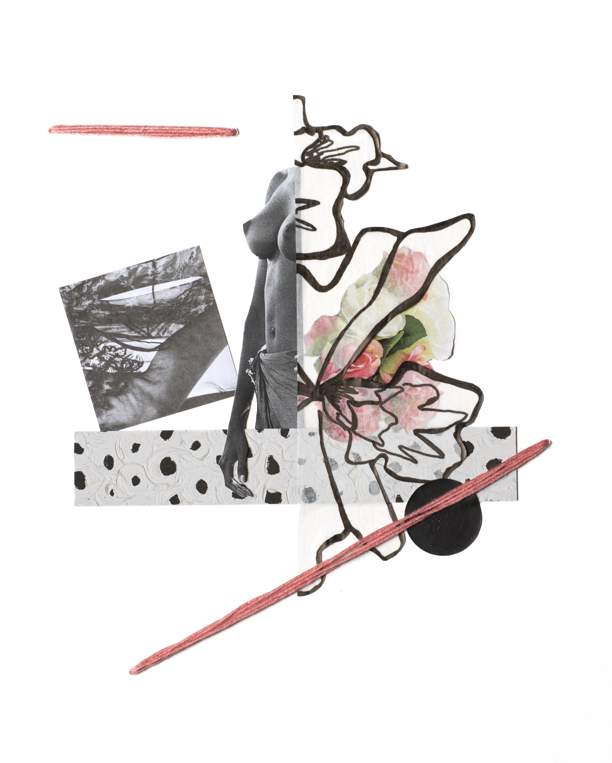 Woman Study 070417-1 , 2017 Ink, vellum, sticker, acrylic, auction catalog, magazine, and embroidery floss on archival mat board 10 x 8 inches