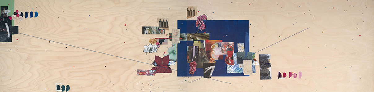 Azul (Kahlo) , 2019 Acrylic, auction catalog, embroidery thread, gouache, handwritten recipe, pigment print, magazine, vintage postmark, and vintage newspaper on wood 24 x 86 inches